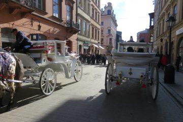 Oude binnenstad Krakau met koetsen